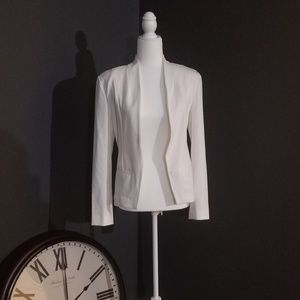 White Collarless Blazer